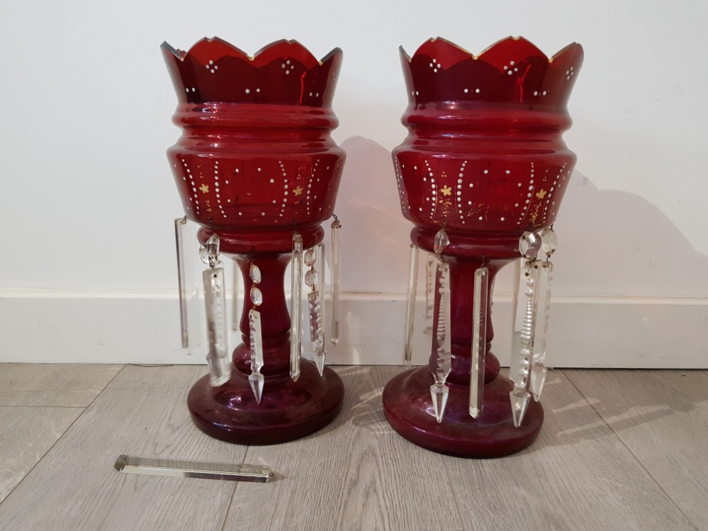 A pair of victorian ruby glass lustres with enamel and gilt decoration, 38.5cm high. - Image 2 of 3