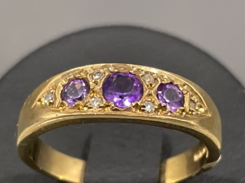 Ladies 9ct gold Amethyst and diamond ring. 2.7g size L - Image 2 of 2