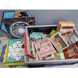 Crate of vintage party and puzzle games