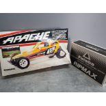 Boxed vintage Apache Mardave off road Remote control racer car plus boxed Futaba digital