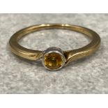Ladies 9ct gold Citrine solitaire ring. Set in a white gold rub over setting. 1.8g size M1/2