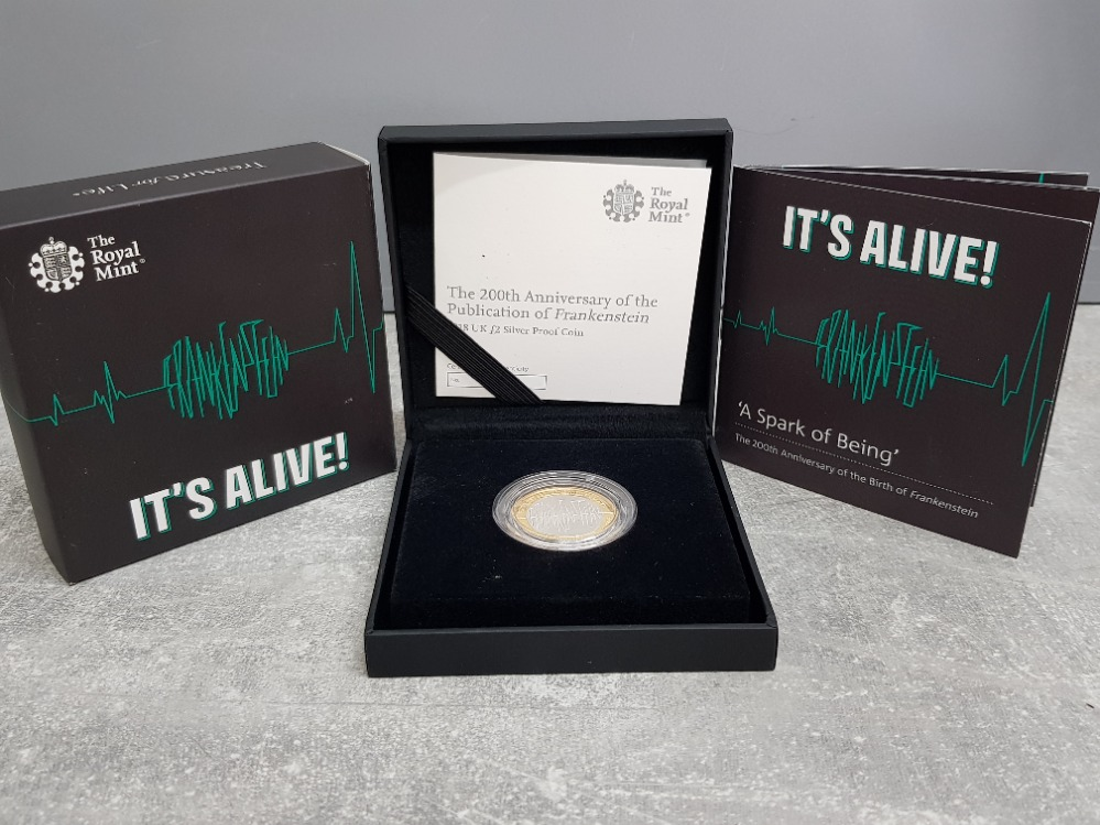 Royal mint 200th anniversary of the publication of Frankenstein 2018 UK £2 silver proof coin with - Image 3 of 3