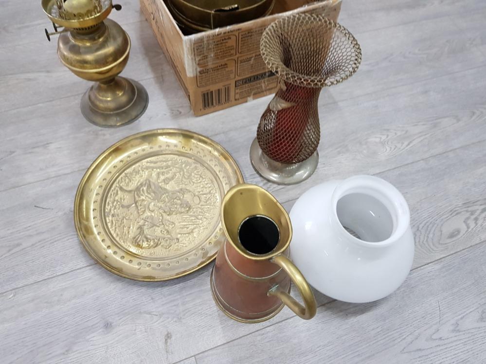 Copper and brass jugs, coalbox, oil lamp etc. - Image 3 of 3
