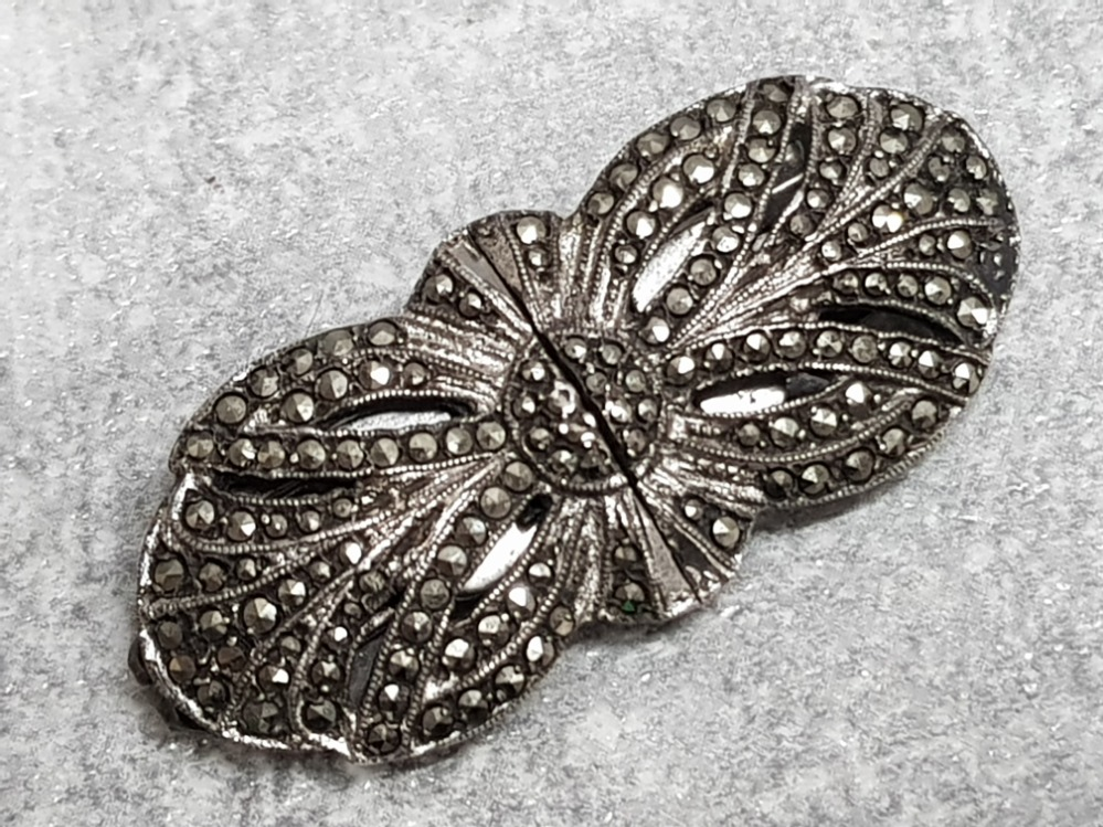 Art deco silver and marcasite double clip brooch