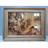 A victorian crystoleum depicting maidens in a garden, 17 x 24cm.