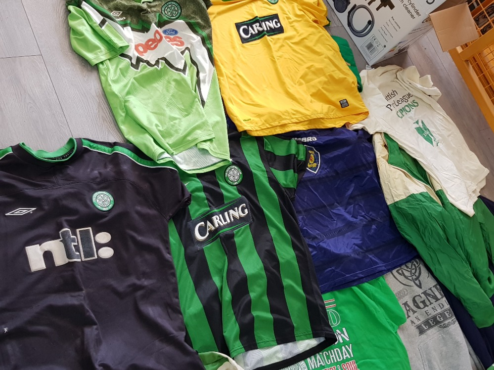 Box of mixed clothing mainly football tops, Celtic and Scotland - Image 2 of 3