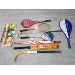 Two squash rackets, cricket bat, pong bazooka etc. 9