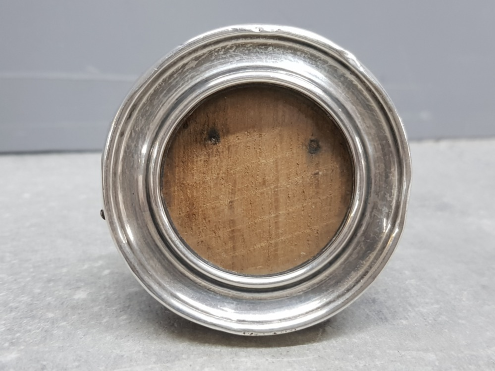 Minature circular shaped silver and wooden photo frame, silver hallmarked Birmingham dated 1916