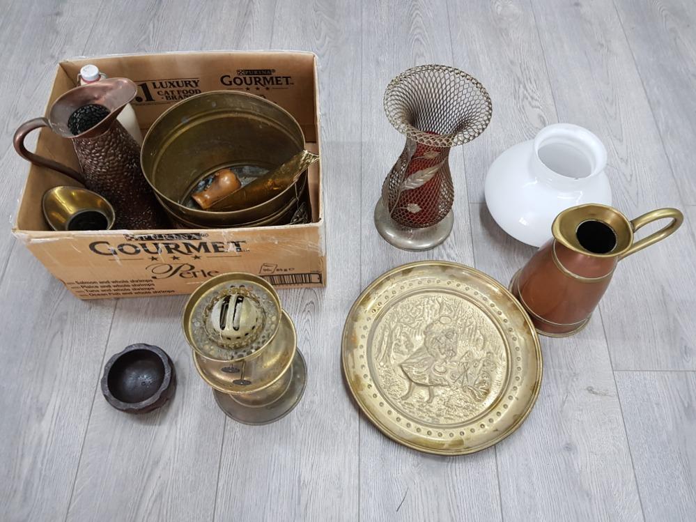 Copper and brass jugs, coalbox, oil lamp etc.
