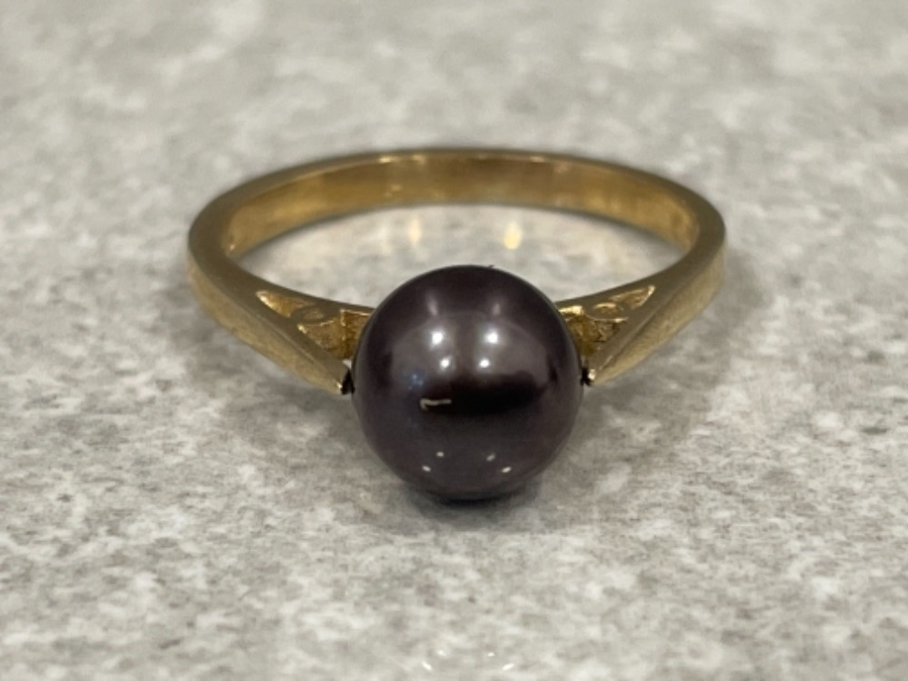 Ladies 9ct gold Cultured brown Pearl ring size M 2.5G