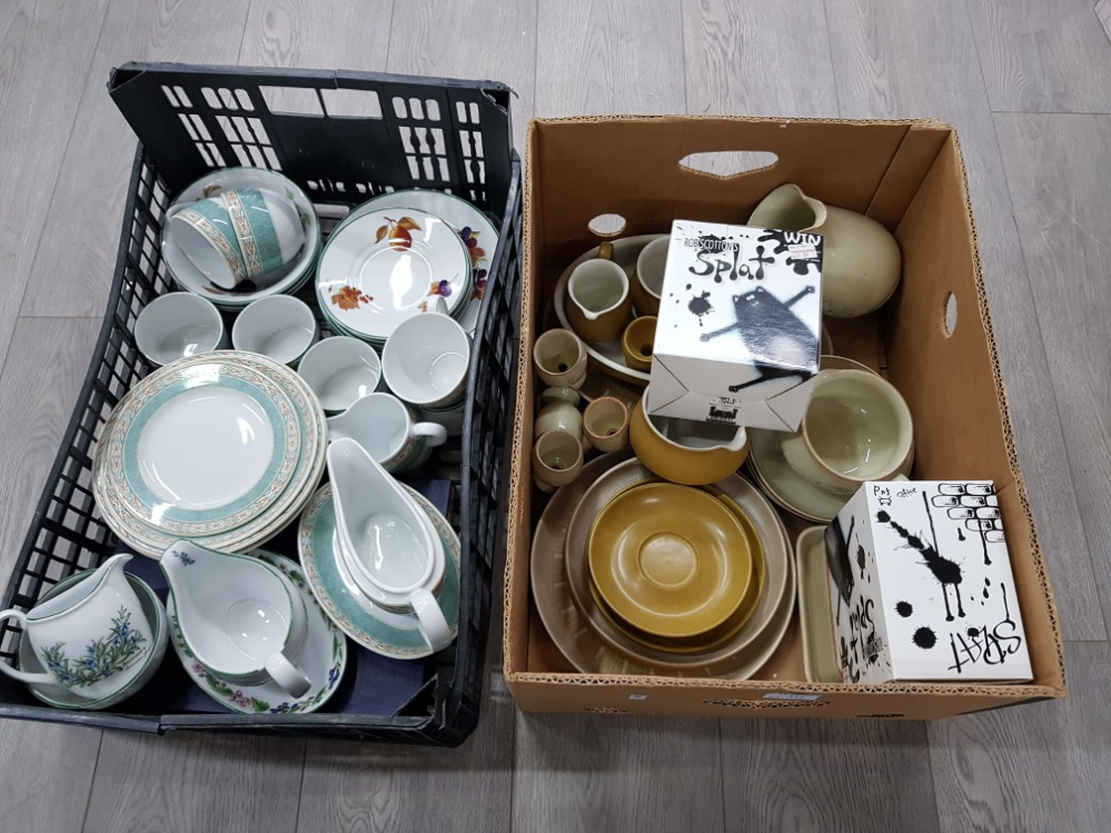 Dinner and teaware to include Wedgwood 'Aztec', Denby, Royal Worcester etc in two boxes.