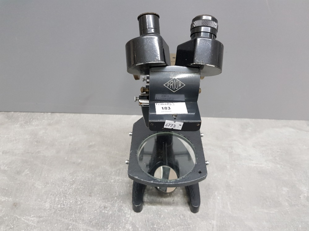 A Prior grey painted metal microscope no 23532. - Image 2 of 3