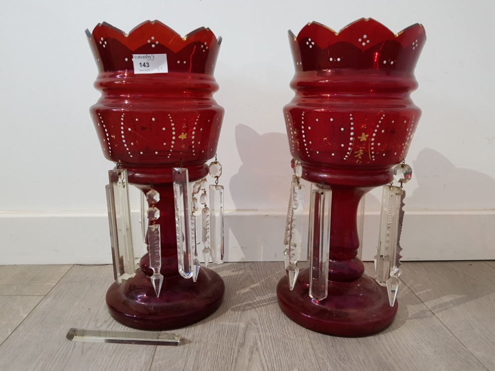 A pair of victorian ruby glass lustres with enamel and gilt decoration, 38.5cm high.