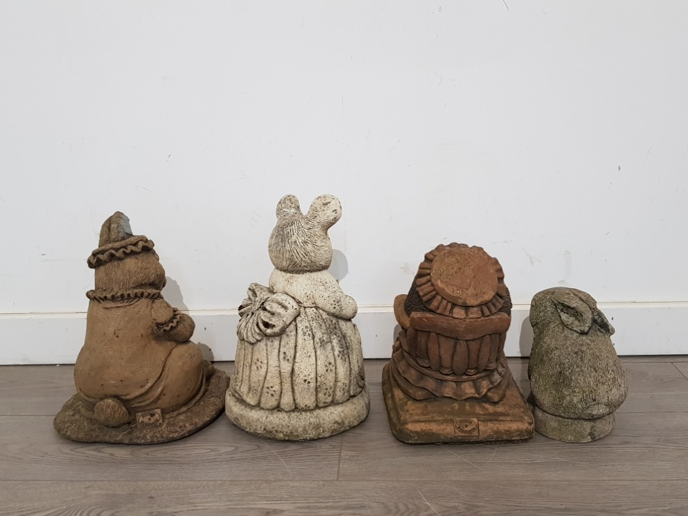 Four composite stone garden ornaments imcluding beatrix potter characters by Hilltop products, - Image 3 of 5