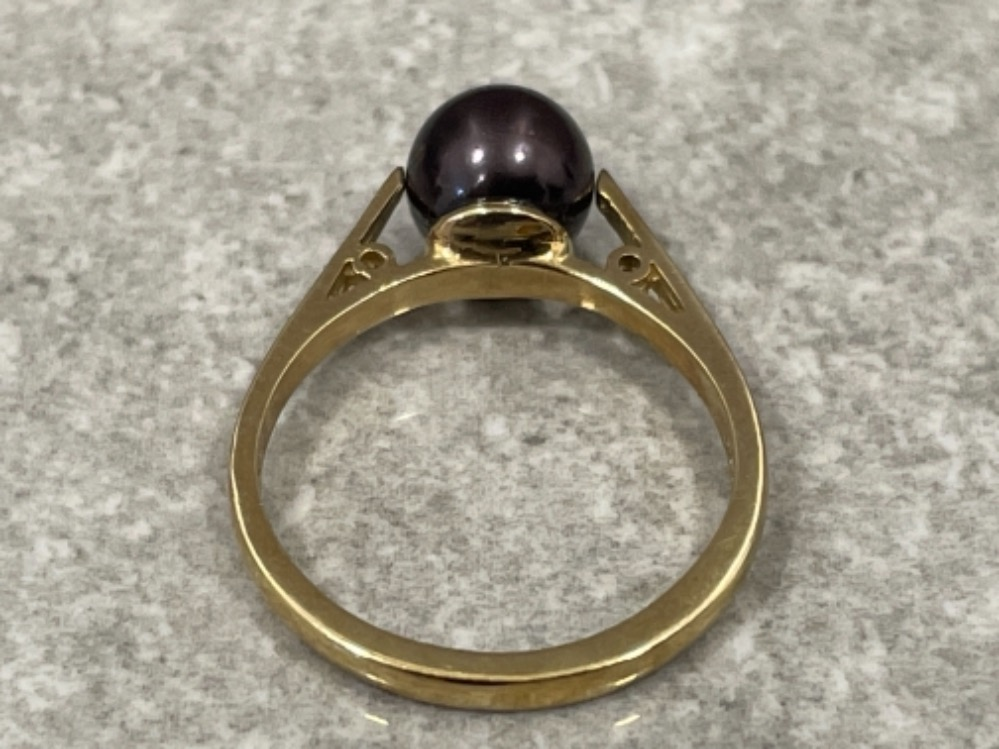 Ladies 9ct gold Cultured brown Pearl ring size M 2.5G - Image 2 of 3
