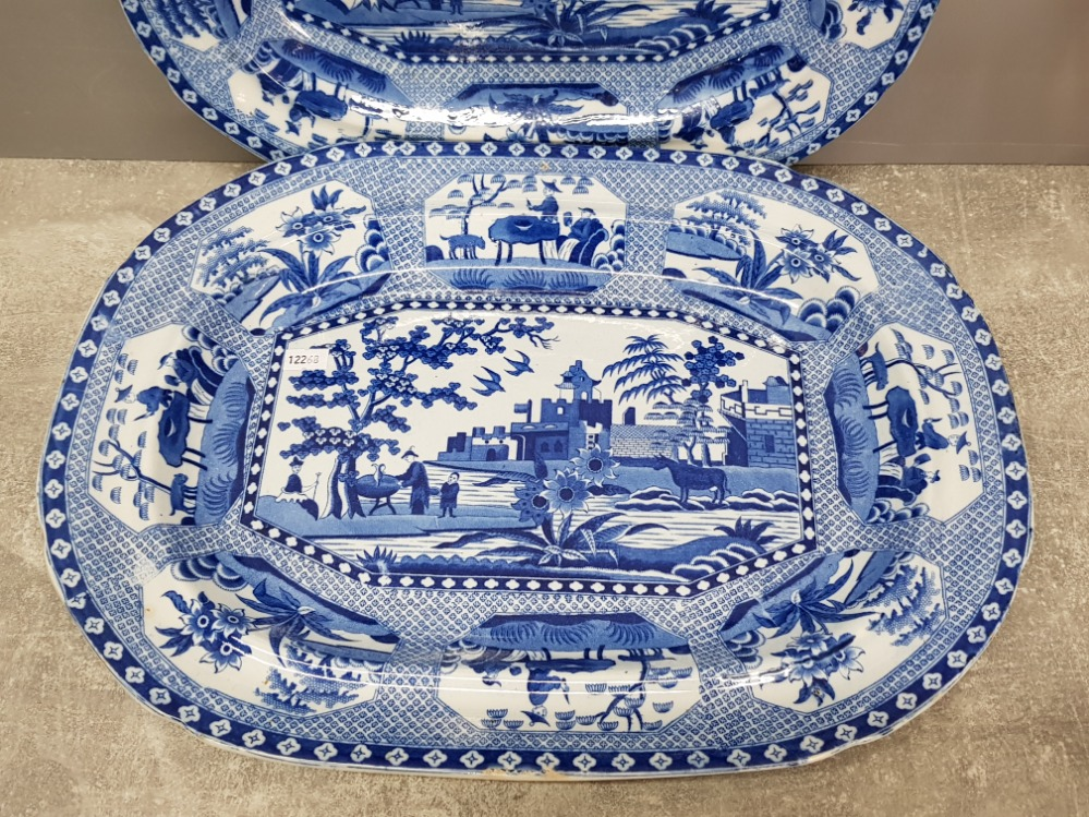 Two 19th Century blue and white serving dishes no 14 and 16, largest measures 42cm wide. - Image 3 of 4