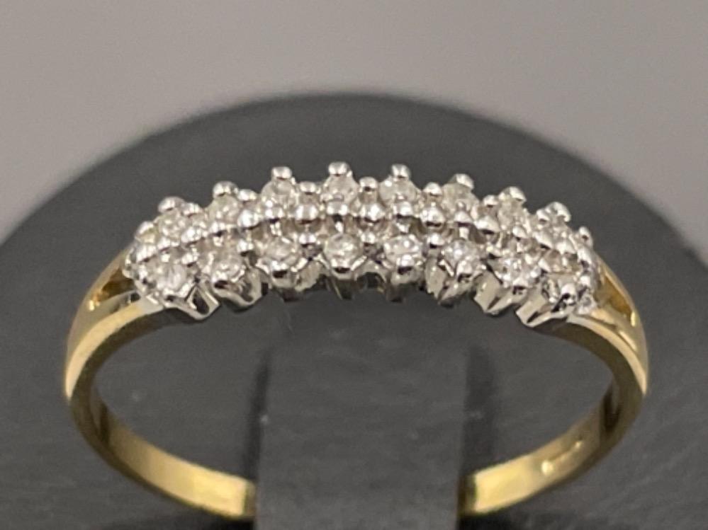 Ladies 9ct gold 2 row diamond ring. 1.5G size N1/2 - Image 2 of 2