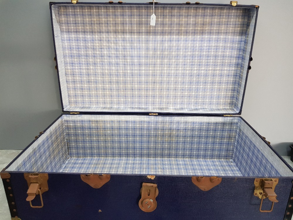 An Overpond travelling trunk with metal mounts 91cm wide. - Image 2 of 3