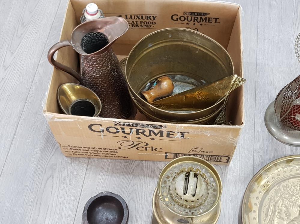 Copper and brass jugs, coalbox, oil lamp etc. - Image 2 of 3