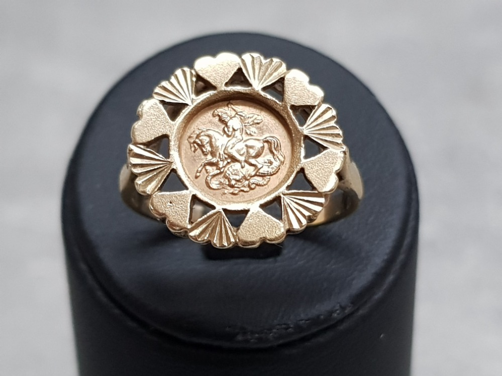 A 9ct yellow gold coin ring, 3.5g, size P. - Image 4 of 4