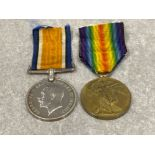 Medals WWI pair, silver and victory medals awarded to Pte A.W. Panting Hampshire Reg 45666