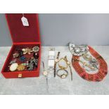 Six ladies wristwatches by accurist, ingersol, elbee etc, and a small quantity of costume jewellery,