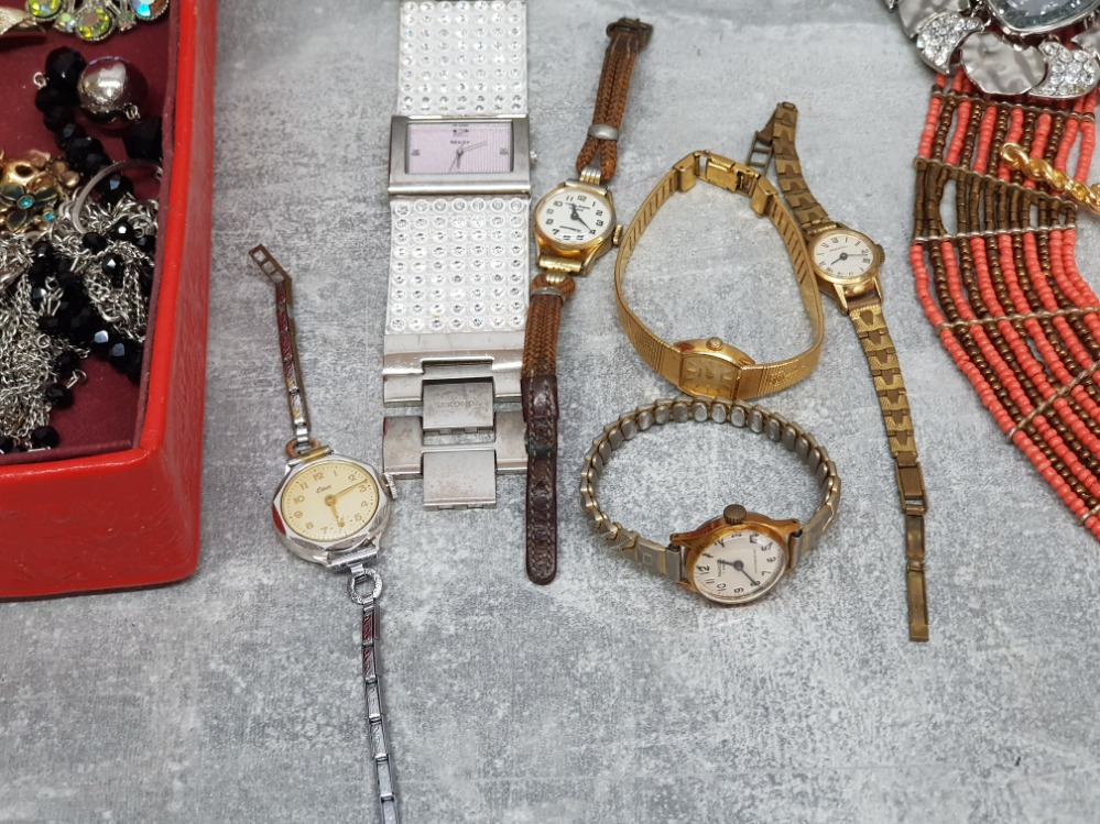 Six ladies wristwatches by accurist, ingersol, elbee etc, and a small quantity of costume jewellery, - Image 2 of 4