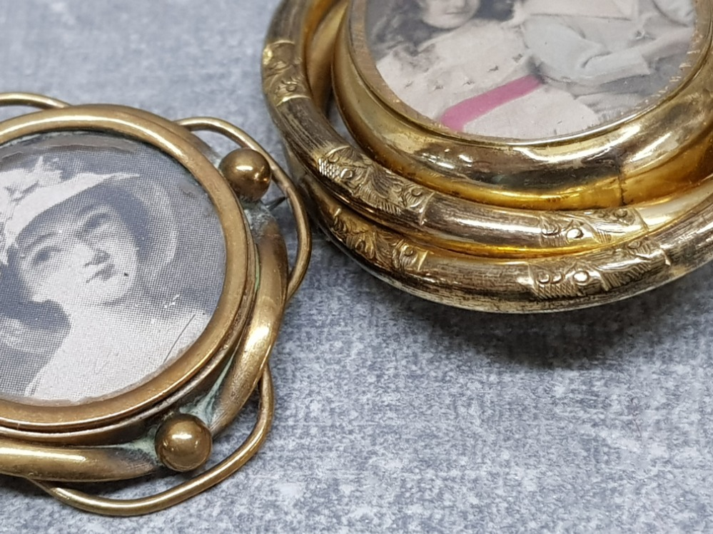 Two Victorian brooches, one gilt metal and the other brass, largest 6.5cm high. - Image 3 of 3