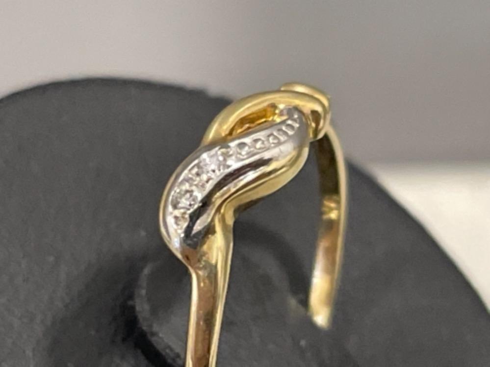 Ladies 9ct gold diamond ring. Size L 1.2g - Image 2 of 3