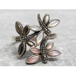 Silver, mother of pearl and marcasite butterfly ring, size S, 5.3g gross