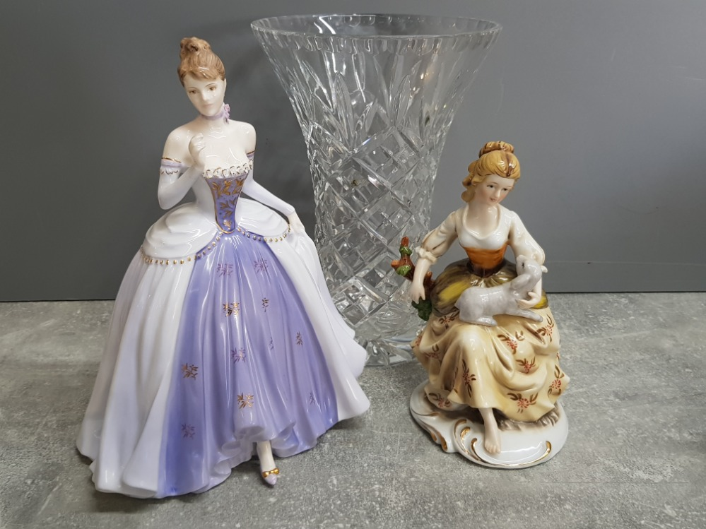 2 lady figures includes coalport Midnight Masquerade and Alfretto by Maruri plus large crystal glass