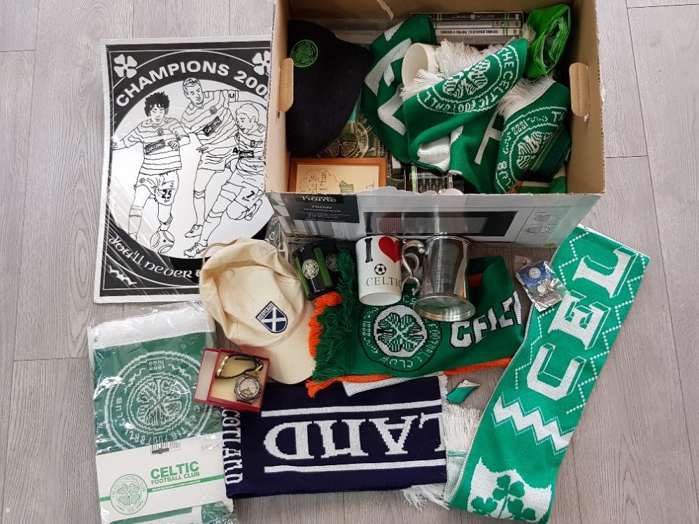 A large Quantity of Celtic football club Memorabilia including scarfs, mugs, Peter tankard etc