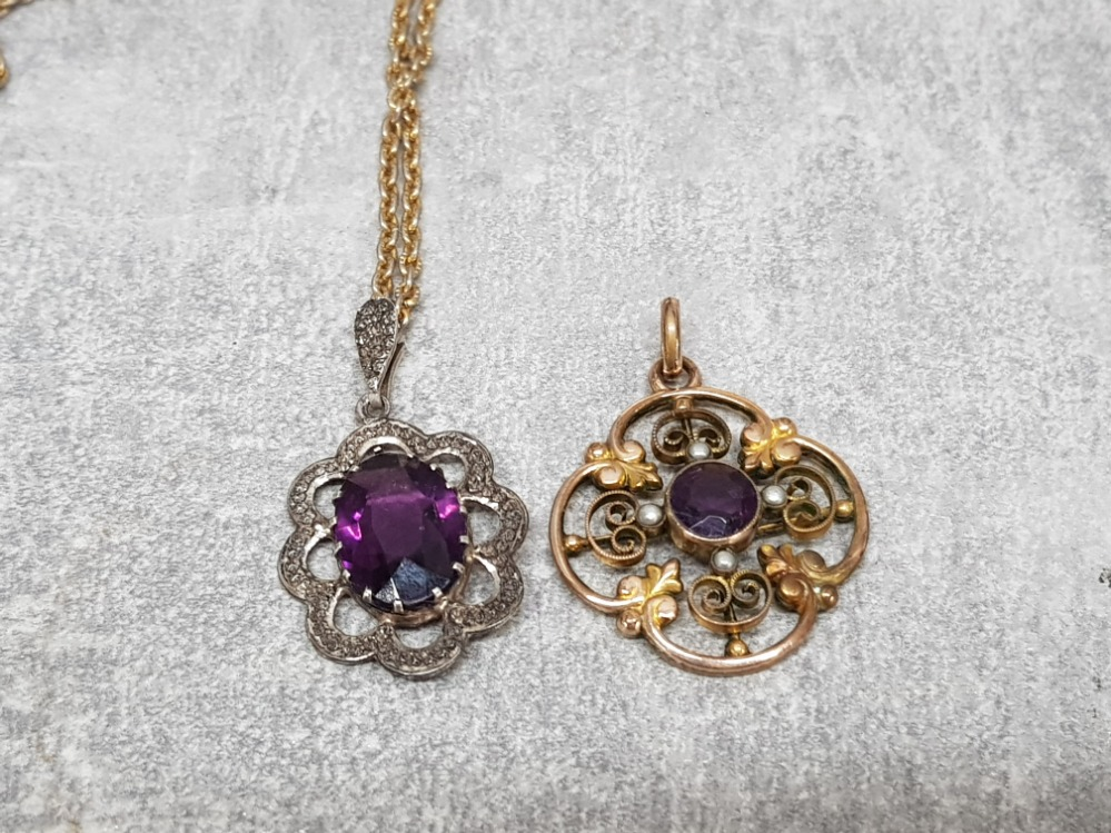 A gold plated edwardian pendant with purple paste stone and seed pearls, a marcasite and paste - Image 2 of 6
