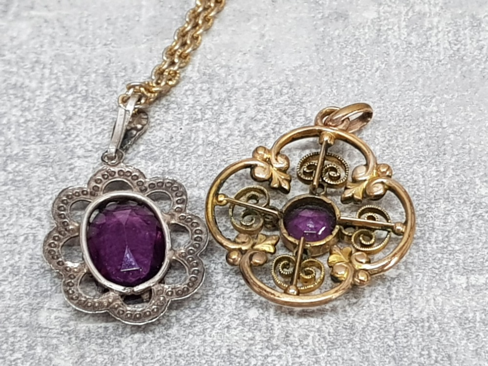 A gold plated edwardian pendant with purple paste stone and seed pearls, a marcasite and paste - Image 3 of 6