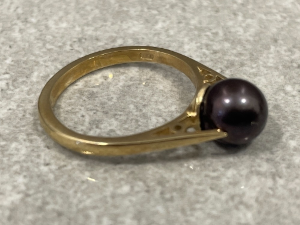 Ladies 9ct gold Cultured brown Pearl ring size M 2.5G - Image 3 of 3