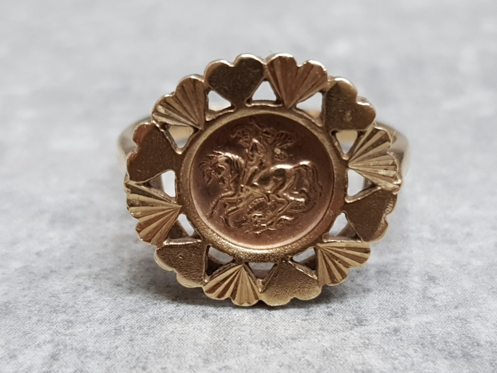 A 9ct yellow gold coin ring, 3.5g, size P.