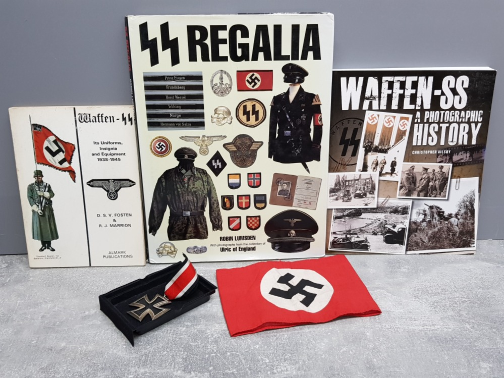 3 German WW2 reference books plus medal and Nazi armband