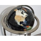 Large Gemstone globe on Metal tripod stand fitted with below compass