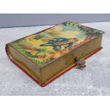 1950s Chad Valley Tin plate Treasure Island money box with original key and containing mixed