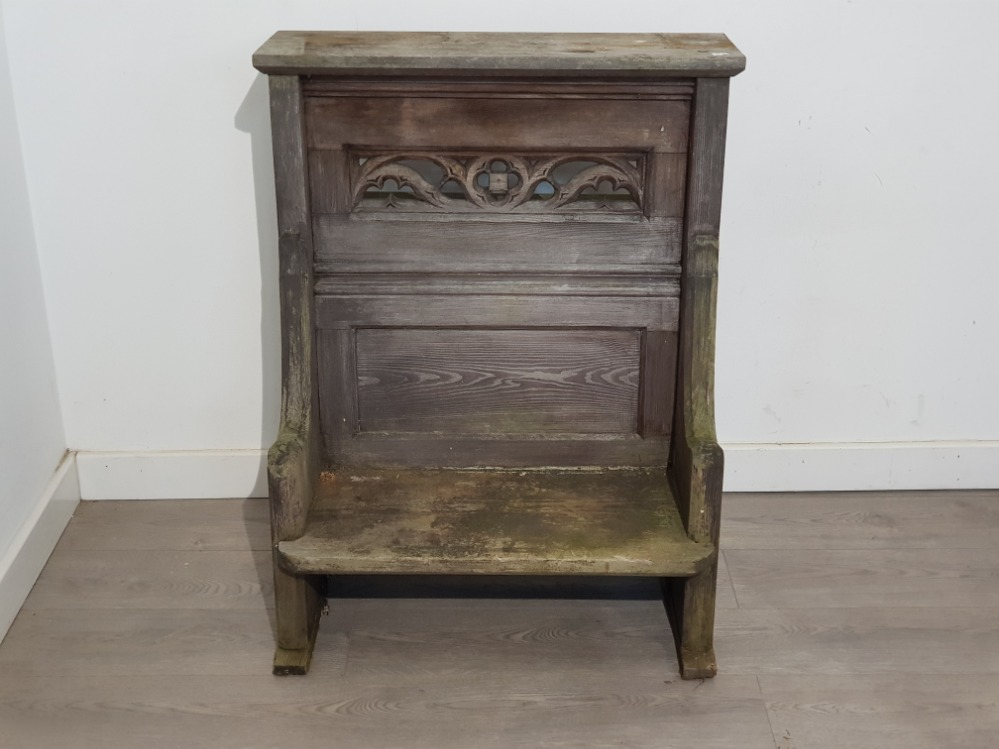 Vintage wooden church readers Pew chair, 72.5x92cm