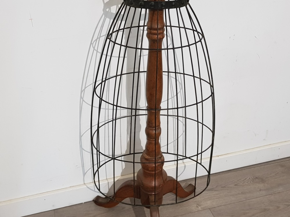 """Large metal dress makers mannequin on wooden pedestal stand, height 60"""" - Image 3 of 3"""