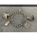 Ladies Silver charms bracelet with fob, heart, pram, slipper and fancy padlock (85.5G)