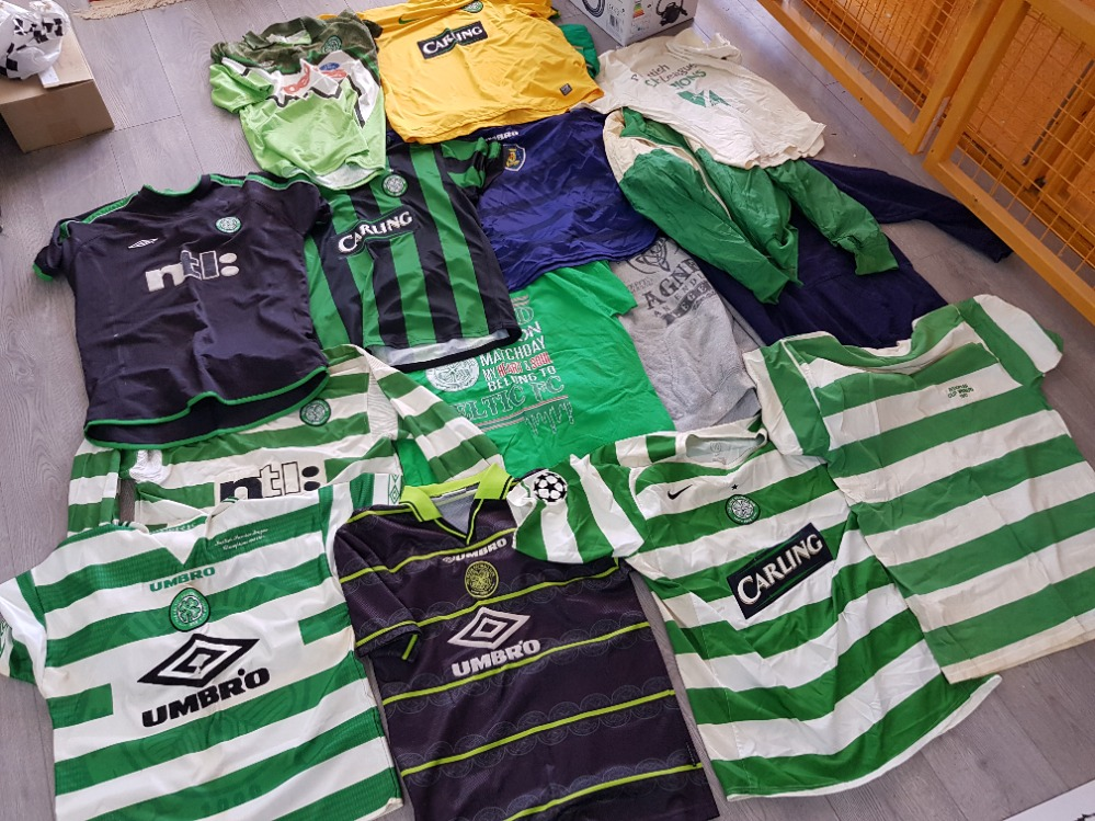 Box of mixed clothing mainly football tops, Celtic and Scotland