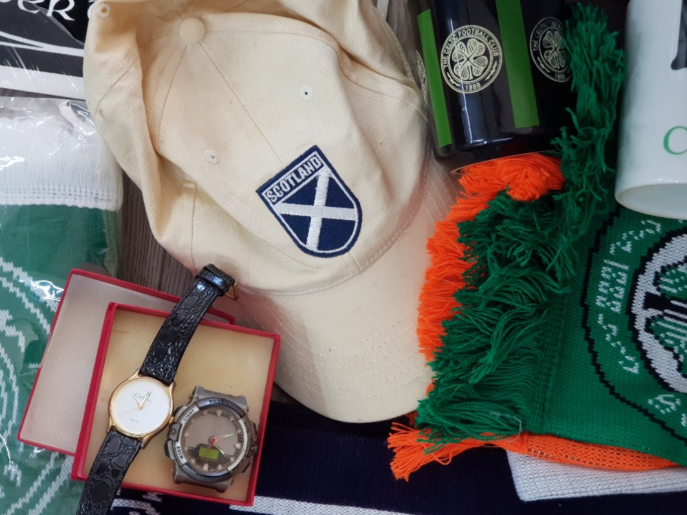 A large Quantity of Celtic football club Memorabilia including scarfs, mugs, Peter tankard etc - Image 2 of 3