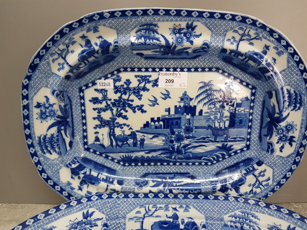 Two 19th Century blue and white serving dishes no 14 and 16, largest measures 42cm wide. - Image 2 of 4