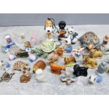 Tub of Minatures mainly wadr animals, also includes glass animals