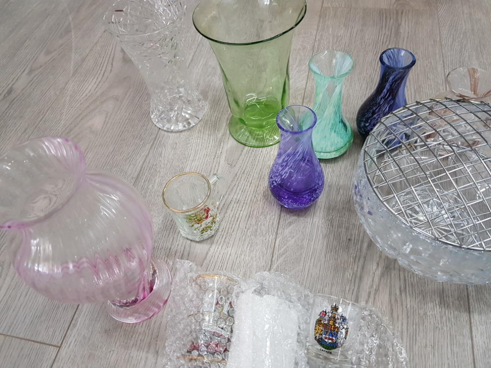 Glassware to include a portmerion blue bowl, carnival glass bowls, cut glass rose bowls, set of - Image 4 of 4