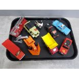 Tray of vintage die cast vehicles by Matchbox