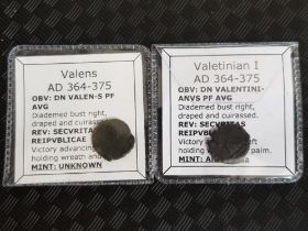 2 Roman Imperial coins 364-375 A.D, Valens and Valetinian I