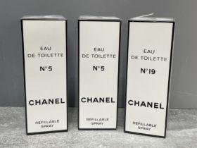 A selection of Chanel Eau De Toilette including 2 No5 and a No19